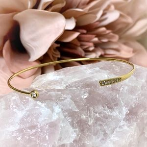 Gold Pave Bar Crystal Minimalist Open Bracelet